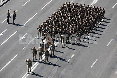 Column of girls of military men