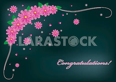 Dark noble greetings card with pink gerbera flowers  and congratulations text