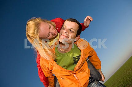 Young love couple kissed