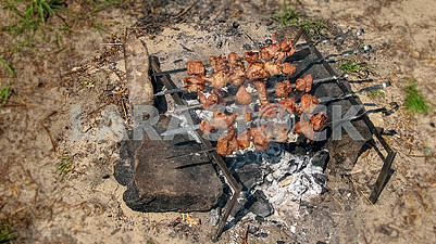 Cooking barbecue on corners in nature
