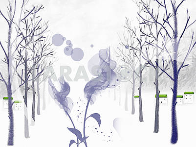 Abstract landscape illustration, winter, tree lane, houses with green roofs, two abstract flowers