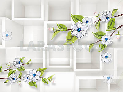 3d illustration, white background, white flowers on branches with green leaves