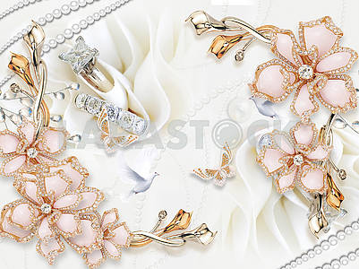 3d illustration, white fabric background, pearl threads, pink gold-plated flowers with crystals, white doves and golden butterflies, two gold rings with crystals