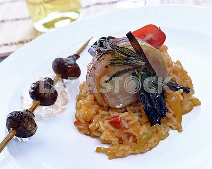 pork shank with risotto