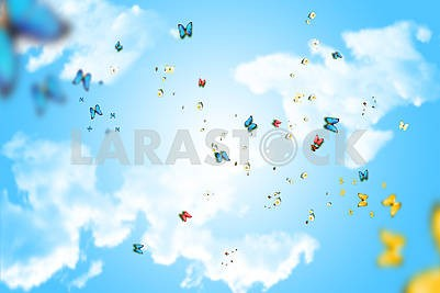 Blue sky with clouds, lots of flying colorful butterflies