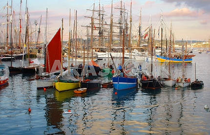 Sailing boats and stand in port on an anchor