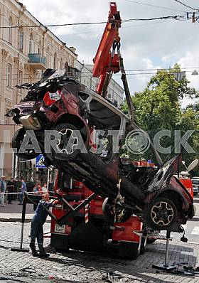 Blasted car in which there was Pavel Sheremet