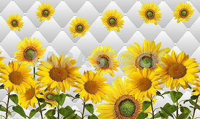 3d illustration, light background, upholstery, large sunflowers