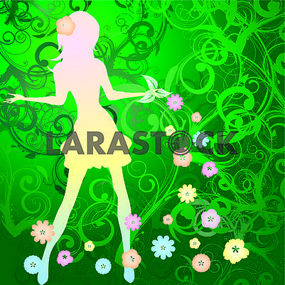 Spring background with slim girl silhouette and flowers swirl on  green background