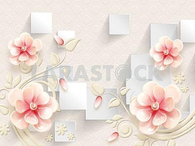 3d illustration, light textural background, white rectangles, large pink ceramic flowers