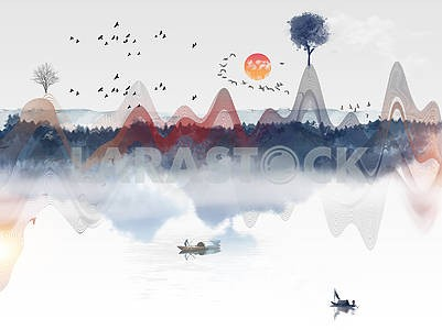 Abstract illustration, colored wave lines, lake, two boats, forest, flock of birds