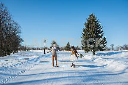 Wedding couple holding hands on the snowy road, out of town, sunny day, lovely two people, bride and groom, happy together, walking on a wedding day, stylish and rustic