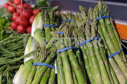 Asparagus on display in a supermarket