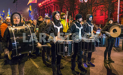 Drummers in the torchlight march