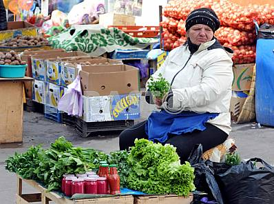 "Woman selling herbs in the market ""Privoz"" April 6, 2012"