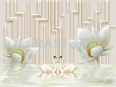 3D illustration, beige background, vertical curved lines, two white water lilies, two swans, reflection in water