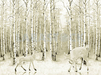 Landscape illustration, winter birch forest, two horned deer