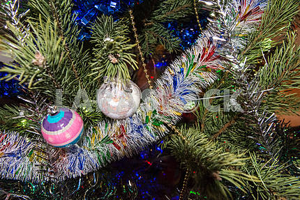 Christmas toys on the Christmas tree