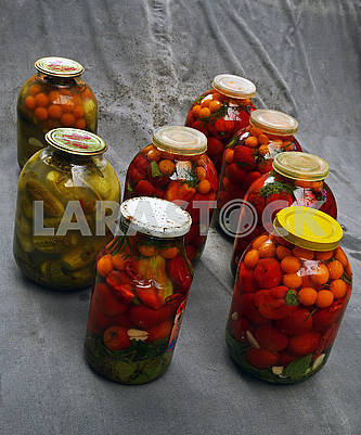 Marinated and leftover cans of various vegetables